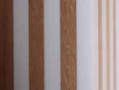 Détail des pieds de la table en chêne et corian / Detail of the table legs in oak and corian